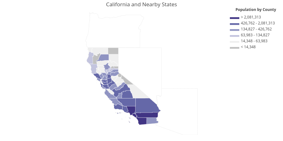 California and Nearby States | filled line chart made by Adamkulidjian | plotly