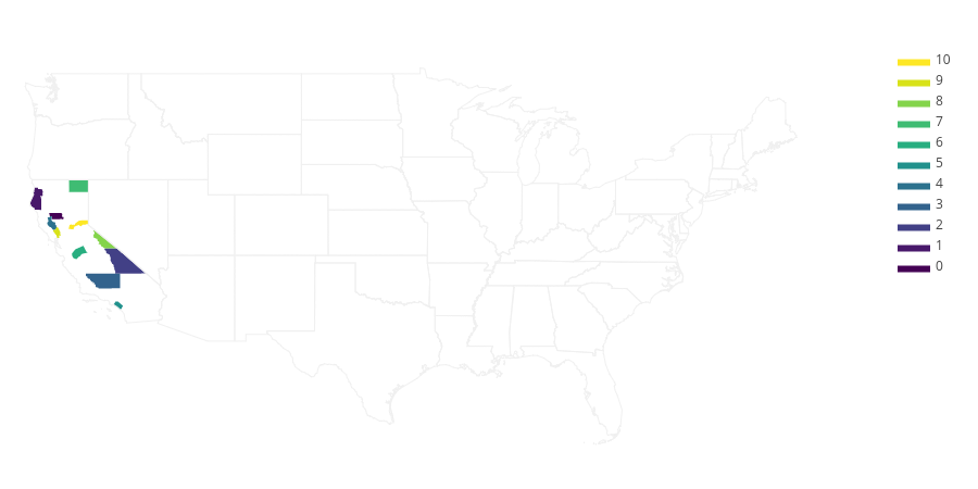 0, 1, 2, 3, 4, 5, 6, 7, 8, 9, 10, US Counties | filled line chart made by Adamkulidjian | plotly