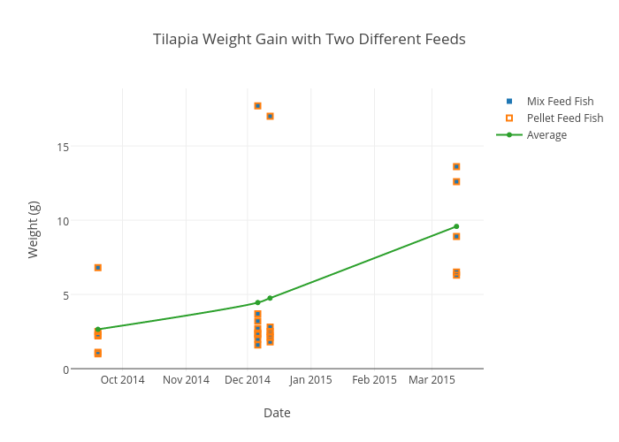 Tilapia Weight Gain With Two Different Feeds Scatter Chart Made By