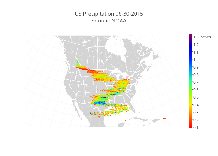 US Precipitation 06-30-2015Source: NOAA | scattergeo made by Diksha_gabha | plotly