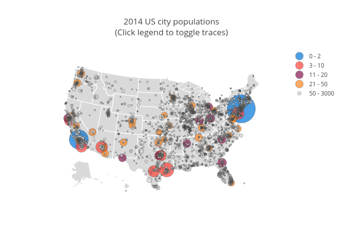2014 Us City Populations Click Legend To Toggle Traces Scattergeo Made By Diksha Gabha