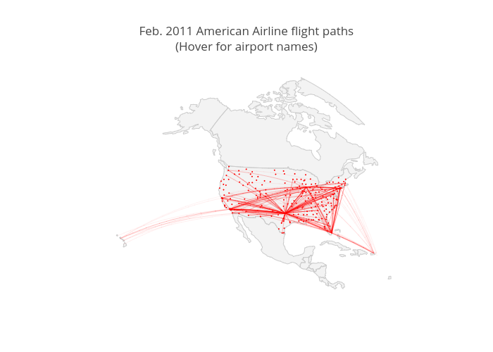 Feb. 2011 American Airline flight paths(Hover for airport names) | scattergeo made by Diksha_gabha | plotly