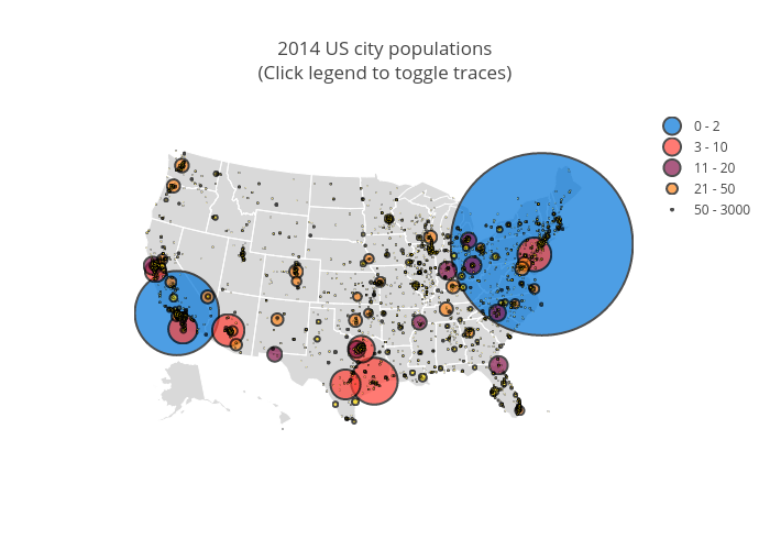 2014 US city populations(Click legend to toggle traces) | scattergeo made by Plotbot | plotly