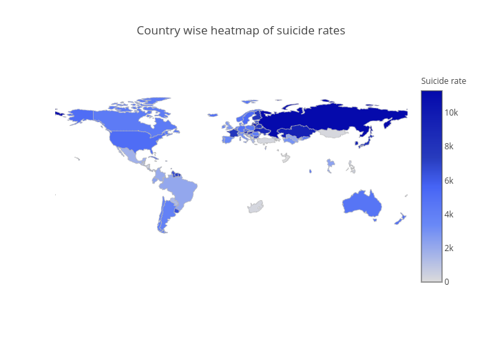 Country wise heatmap of suicide rates   choropleth made by Prithivida   plotly