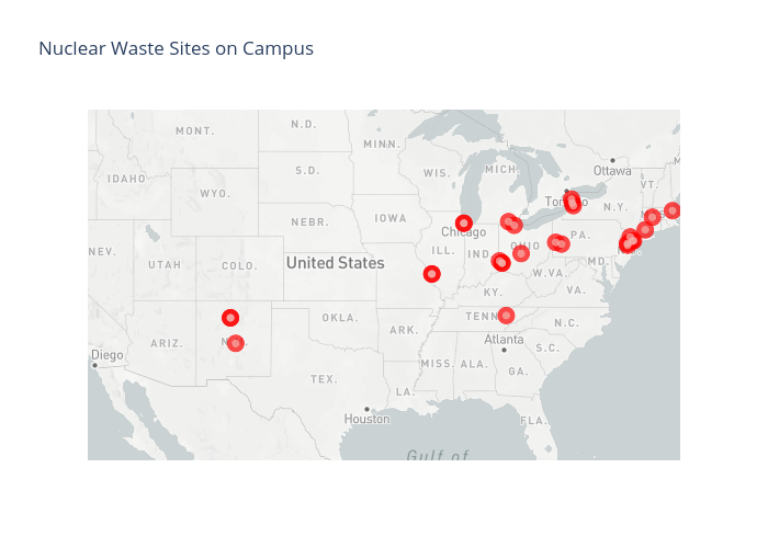 Nuclear Waste Sites on Campus | scattermapbox made by Pythonplotbot | plotly