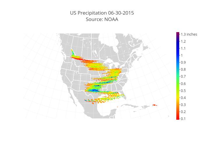 US Precipitation 06-30-2015Source: NOAA | scattergeo made by Pythonplotbot | plotly