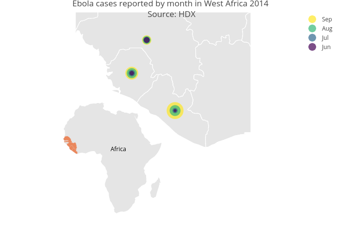 Ebola cases reported by month in West Africa 2014 Source: HDX | scattergeo made by Rplotbot | plotly