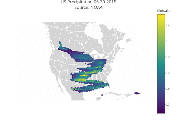 US Precipitation 06-30-2015Source: NOAA | scattergeo made by Rplotbot | plotly