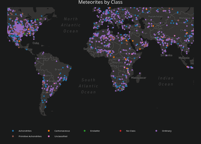 Meteorites by Class | scattermapbox made by Rplotbot | plotly