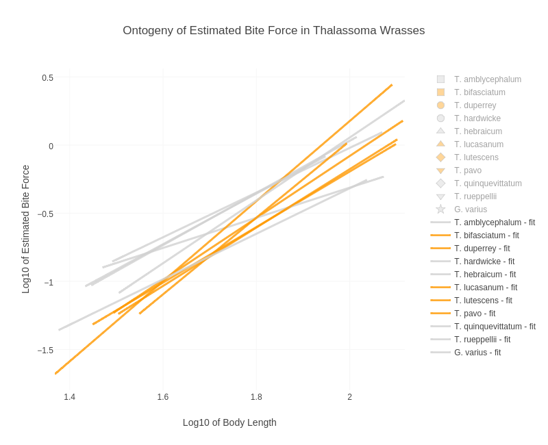 Ontogeny of Estimated Bite Force in Thalassoma Wrasses