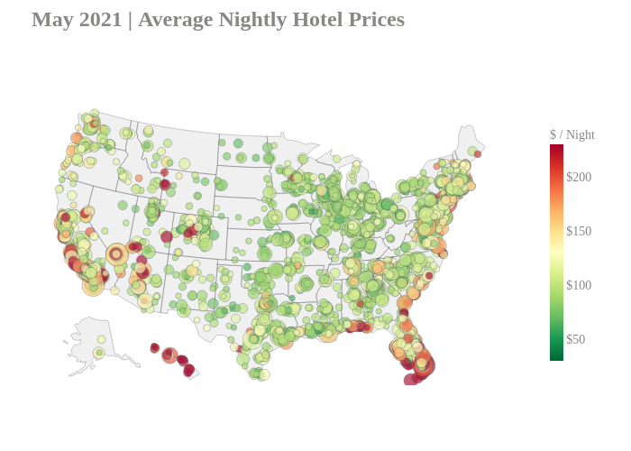 May 2021   Average Nightly Hotel Prices   scattergeo made by Adamodaran   plotly