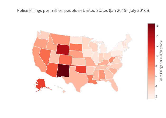 Police killings per million people in United States (Jan 2015 - July 2016)) | choropleth made by Allenkunle | plotly