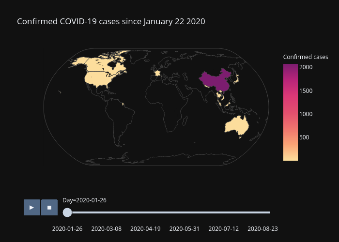 Confirmed COVID-19 cases since January 22 2020 | choropleth made by Alozano | plotly