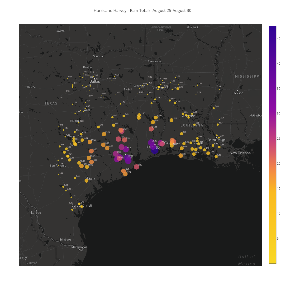 Hurricane Harvey - Rain Totals, August 25-August 30 | scattermapbox made by Bigdata153 | plotly
