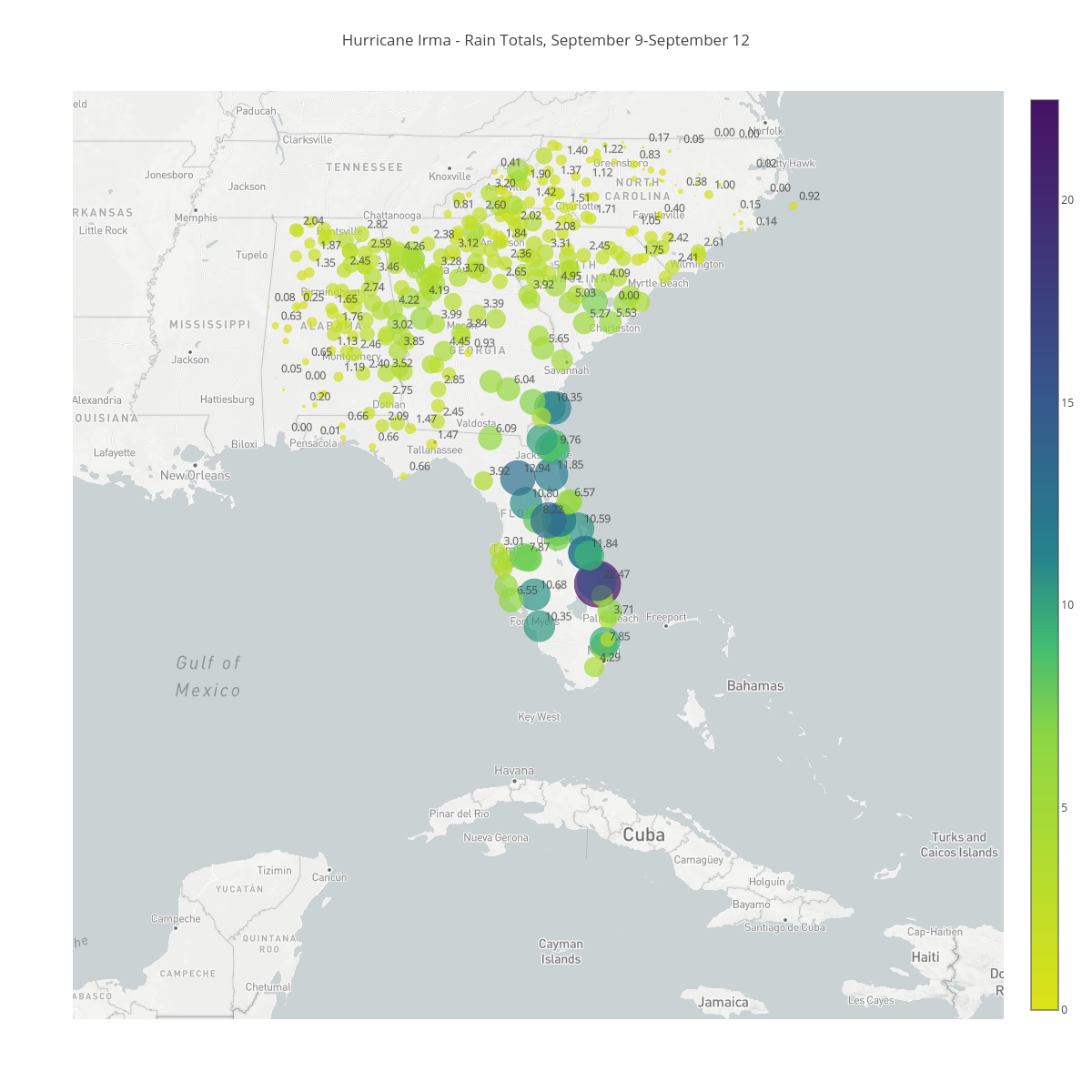 Hurricane Irma - Rain Totals, September 9-September 12 | scattermapbox made by Bigdata153 | plotly