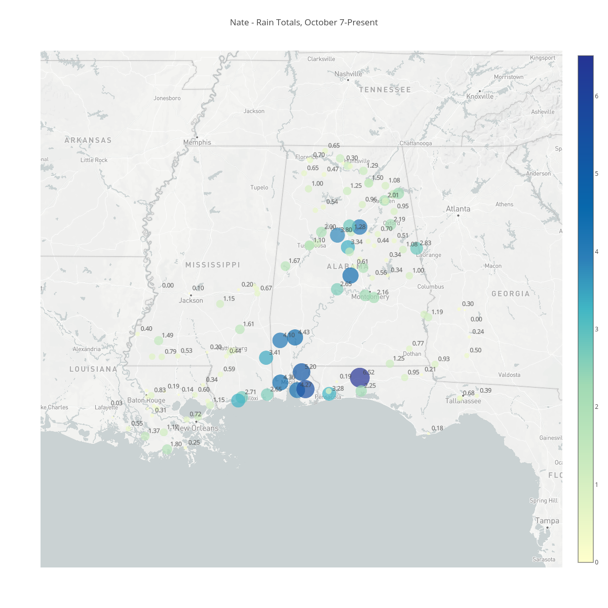 Nate - Rain Totals, October 7-Present | scattermapbox made by Bigdata153 | plotly