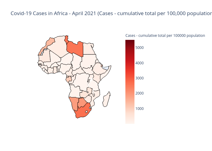 Covid-19 Cases in Africa - April 2021 (Cases - cumulative total per 100,000 population) | choropleth made by Bunmiadeayo | plotly
