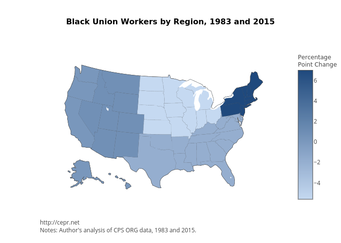 <b>Black Union Workers by Region, 1983 and 2015</b>
