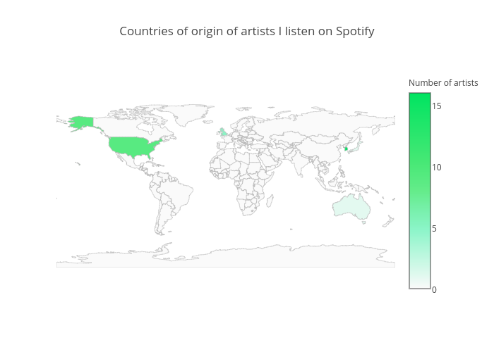 Countries of origin of artists I listen on Spotify | choropleth made by Jitsejan | plotly