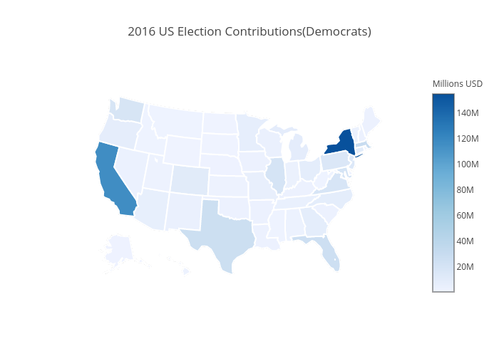 2016 US Election Contributions(Democrats) | choropleth made by Mholtzscher | plotly