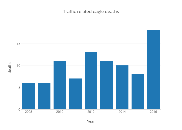 Traffic related eagle deaths