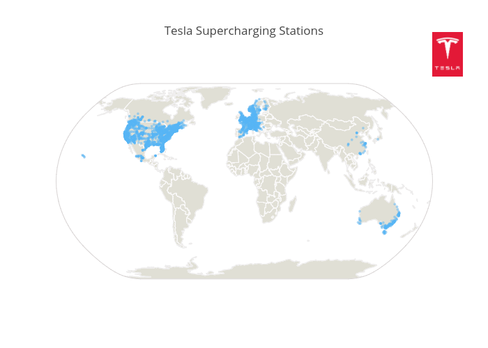 Tesla Supercharging Stations | scattergeo made by Octogrid | plotly