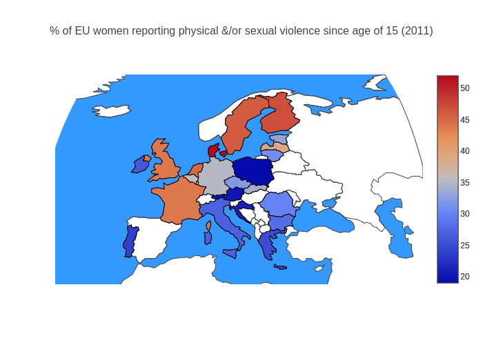 % of EU women reporting physical &/or sexual violence since age of 15 (2011) | choropleth made by Sheld1 | plotly