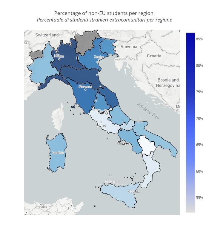 Percentage of non-EU students per region  Percentuale di studenti stranieri extracomunitari per regione  | scattermapbox made by Vincenzo.pota | plotly