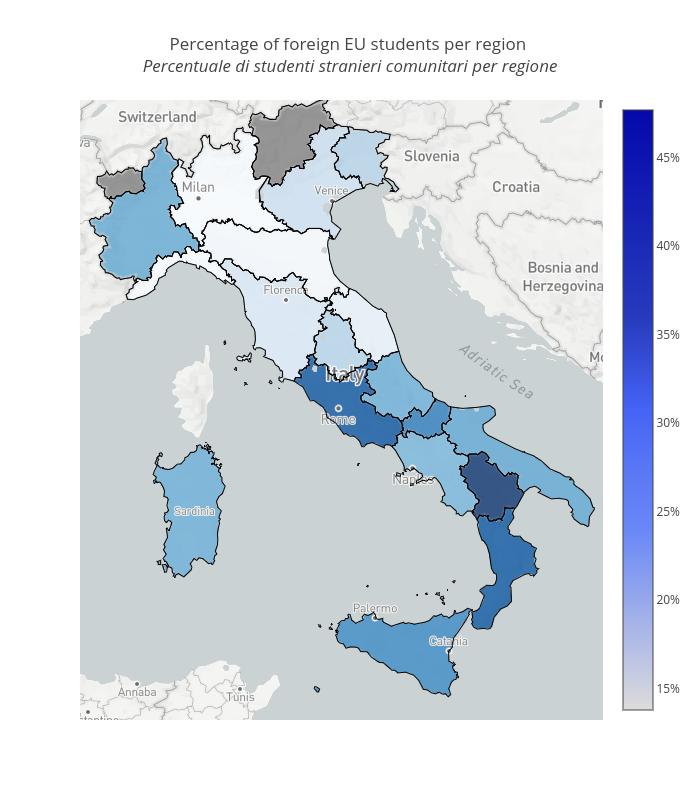 Percentage of foreign EU students per region  Percentuale di studenti stranieri comunitari per regione    scattermapbox made by Vincenzo.pota   plotly